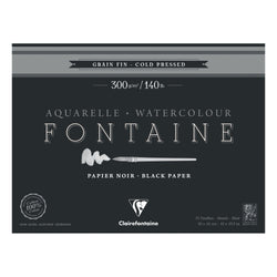 Fontaine 100 % Cotton : Clairefontaine Watercolour : Black Paper 300gsm  : Cold Press : 7 x 10