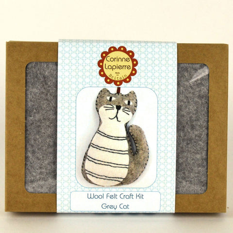 Corinne Lapierre : Felt Grey Cat Mini Kit