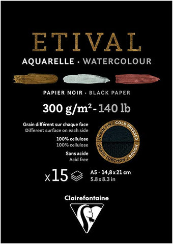 Étival-Clairefontaine: Watercolour : Black Paper 300gsm  : Cold Press : 8.3 x 5.8 inches : A5 15 Sheets Black