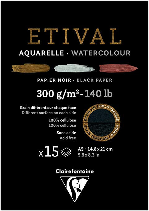 Étival-Clairefontaine: Watercolour Black Paper 300gsm  : Cold Press 8.3 x 5.8 inches A5 15 Sheets Black