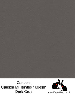 Canson Mi Teintes acid free, Dark Grey, hammered texture honeycomb surface paper 160 gsm. This is a popular and classic paper for all artists especially well respected for Pastel and Papercutting made famous by Paper Panda. This paper has a honeycombed finish one side and fine grain the other. An authentic art paper, acid free with a  very high 50% cotton content. Canson Mi-Teintes complies with the ISO 9706 standard on permanence, a guarantee of excellent conservation