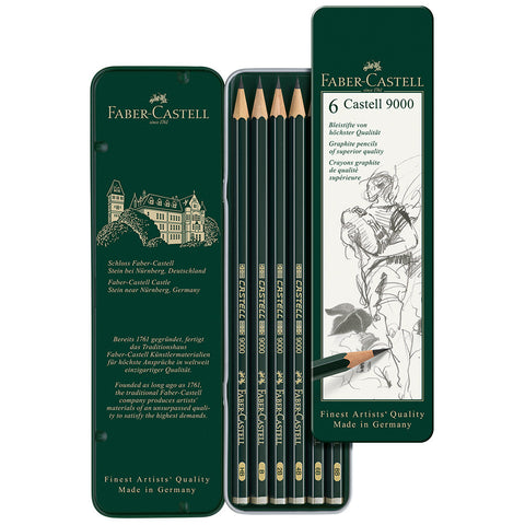 Faber-Castell : Castell 9000 Graphite pencils : Tin of six