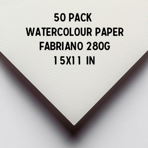 Fabriano Watercolour Paper : Cold Pressed : 50 pack of 1/4 sheet 15 x 11 inches