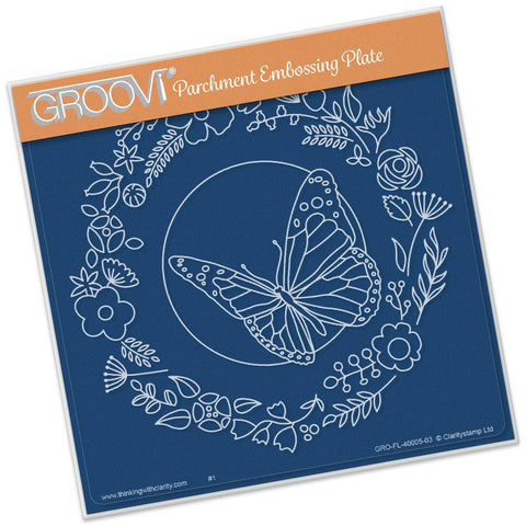 CLARITYSTAMP BUTTERFLY WREATH A5 SQUARE GROOVI PLATE