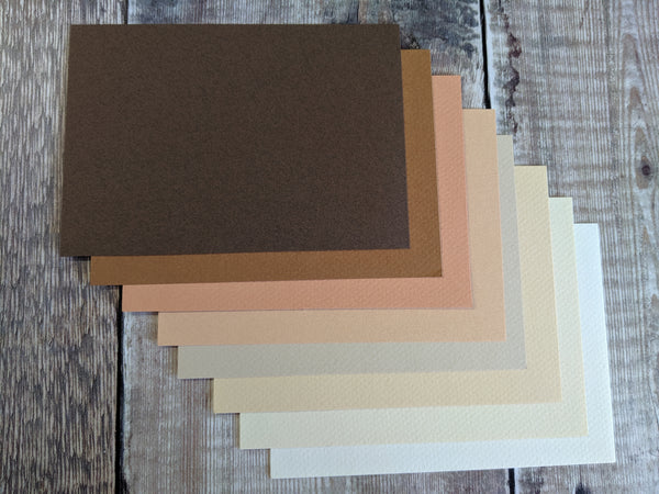 8 Layered pack of Brown Warm shades A4 Hammered 160 gsm paper