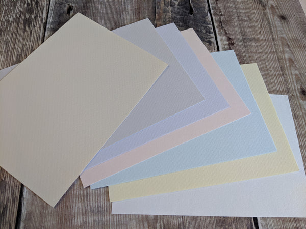 7 Layered pack of Pastel Tones A4 Hammered 160 gsm paper