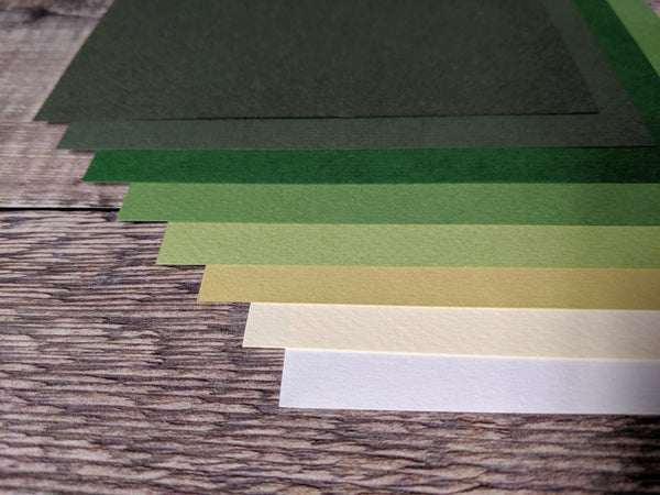 8  Layered pack of Green Nature Pack A4 Hammered 160 gsm paper