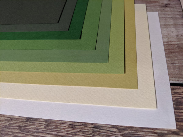 9  Layered pack of Green Nature A4 Hammered 160 gsm paper