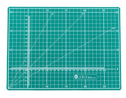 Jakar A4 Self healing Cutting MatJakar A4 Self healing Cutting Mat  Cutting mat, A4, green, five ply PVC, printed two sides with white graphics. Metric side with 1cm square with 5cm blocks, 1mm calibrated X-Y axis, 30°, 45° and 60°angle guide. Imperial measurements on reverse side with half inch squares within 1 inch blocks, co-ordinate axis calibrated in eighths: 30°, 45° and 60°angle guide, Pica and Point lettering guides. Individually wrapped. Size: 220 x 300 x 3mm.