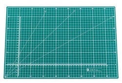Jakar A3 Self healing Cutting MatCutting mat, A3, green, five ply PVC, printed two sides with white graphics. Metric side with 1cm square with 5cm blocks, 1mm calibrated X-Y axis, 30°, 45° and 60°angle guide. Imperial measurements on reverse side with half inch squares within 1 inch blocks, co-ordinate axis calibrated in eighths: 30°, 45° and 60°angle guide, Pica and Point lettering guides. Individually wrapped. Size: 450 x 300 x 3mm
