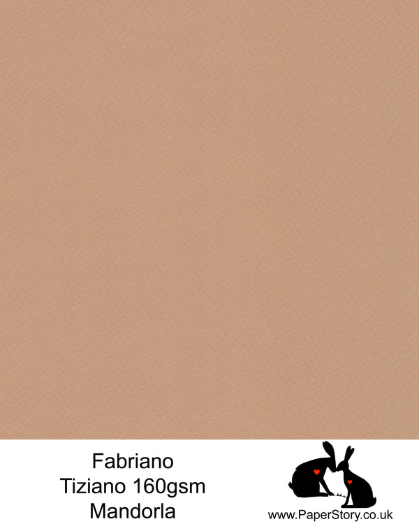 High quality paper from Italy, Mandorla warm brown with a hint of pink. Fabriano Tiziano is 160 gsm, Tiziano has a high cotton content, a textured naturally sized surface. This paper is acid free to guarantee long permanence in time, pH neutral. It has highly lightfast colours, an excellent surface making and sizing which make this paper particularly suitable for papercutting, pastels, pencil, graphite, charcoal, tempera, air brush and watercolour techniques. Tiziano can be used for all printing techniques.