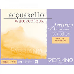 Fabriano Artistico AcquareLLo Watercolour paper 100 % Cotton Extra White 300 gsm : Cold Press NOT textured Watercolour paper