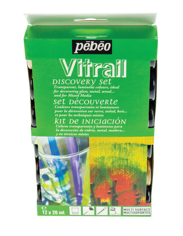 Pebeo mixed media paint : Discovery Set 12 : Vitrail Glass Paint