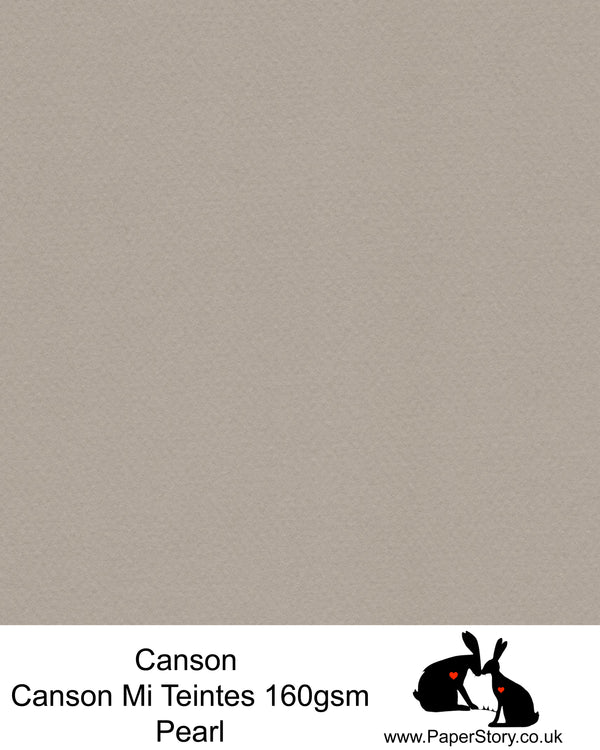 Canson Mi Teintes acid free, Pearl, mid tone grey, hammered texture honeycomb surface paper 160 gsm. This is a popular and classic paper for all artists especially well respected for Pastel  and Papercutting made famous by Paper Panda. This paper has a honeycombed finish one side and fine grain the other. An authentic art paper, acid free with a  very high 50% cotton content. Canson Mi-Teintes complies with the ISO 9706 standard on permanence, a guarantee of excellent conservation