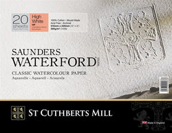 Saunders Waterford High White 100% Cotton 300 gsm Watercolour Paper  : Hot Press : 23x31cm (9 x 12