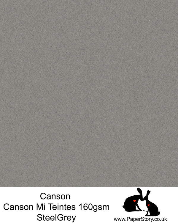 Canson Mi Teintes acid free, Steel Grey, cool crey, hammered texture honeycomb surface paper 160 gsm. This is a popular and classic paper for all artists especially well respected for Pastel  and Papercutting made famous by Paper Panda. This paper has a honeycombed finish one side and fine grain the other. An authentic art paper, acid free with a  very high 50% cotton content. Canson Mi-Teintes complies with the ISO 9706 standard on permanence, a guarantee of excellent conservation