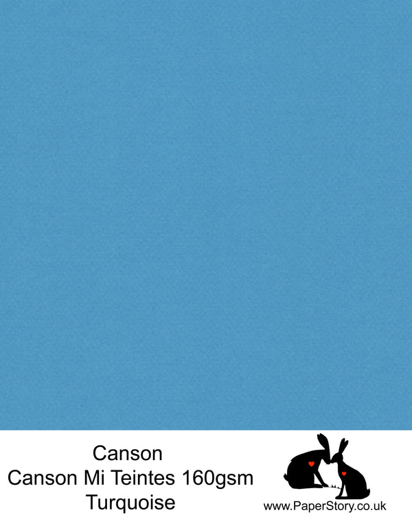 Canson Mi Teintes acid free, Turquoise sea blue, hammered texture honeycomb surface paper 160 gsm. This is a popular and classic paper for all artists especially well respected for Pastel  and Papercutting made famous by Paper Panda. This paper has a honeycombed finish one side and fine grain the other. An authentic art paper, acid free with a  very high 50% cotton content. Canson Mi-Teintes complies with the ISO 9706 standard on permanence, a guarantee of excellent conservation