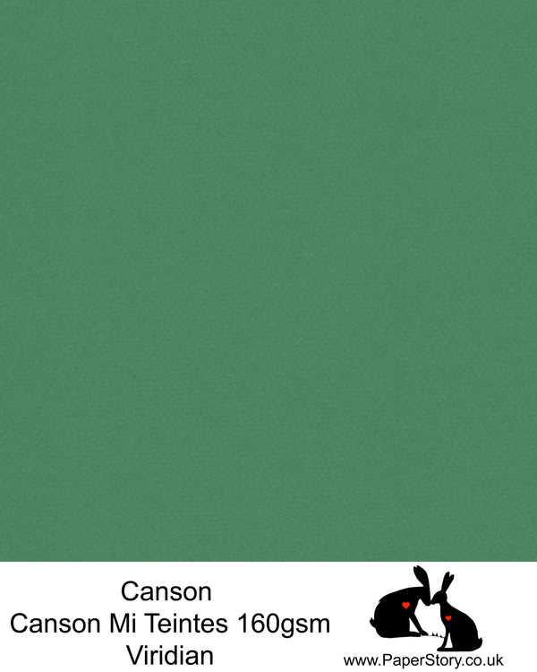 Canson Mi Teintes acid free, Viridian Green, hammered texture honeycomb surface paper 160 gsm. This is a popular and classic paper for all artists especially well respected for Pastel  and Papercutting made famous by Paper Panda. This paper has a honeycombed finish one side and fine grain the other. An authentic art paper, acid free with a  very high 50% cotton content. Canson Mi-Teintes complies with the ISO 9706 standard on permanence, a guarantee of excellent conservation