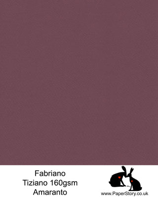 High quality paper from Italy, Amaranto, red with a hint of deep pink Fabriano Tiziano is 160 gsm, Tiziano has a high cotton content, a textured naturally sized surface. This paper is acid free to guarantee long permanence in time, pH neutral. It has highly lightfast colours, an excellent surface making and sizing which make this paper particularly suitable for papercutting, pastels, pencil, graphite, charcoal, tempera, air brush and watercolour techniques. Tiziano can be used for all printing techniques.