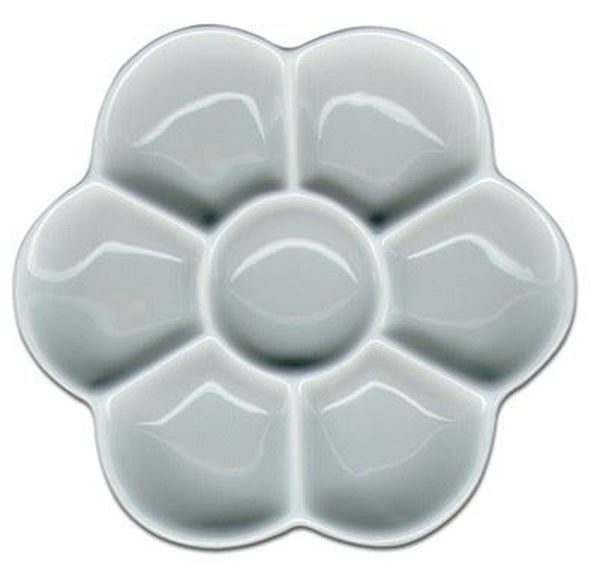Porcelain Artist Palette. Jakar Flower Shaped, 7 individual wells