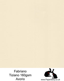 High quality paper from Italy, Avorio classic creamy Ivory Fabriano Tiziano is 160 gsm, Tiziano has a high cotton content, a textured naturally sized surface. This paper is acid free to guarantee long permanence in time, pH neutral. It has highly lightfast colours, an excellent surface making and sizing which make this paper particularly suitable for papercutting, pastels, pencil, graphite, charcoal, tempera, air brush and watercolour techniques. Tiziano can be used for all printing techniques.