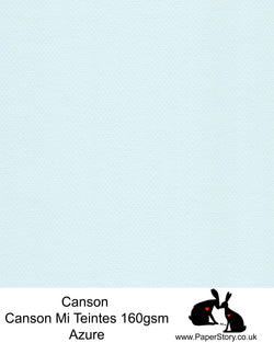 Canson Mi Teintes acid free, Azure Pale Blue, hammered texture honeycomb surface paper 160 gsm. This is a popular and classic paper for all artists especially well respected for Pastel  and Papercutting made famous by Paper Panda. This paper has a honeycombed finish one side and fine grain the other. An authentic art paper, acid free with a  very high 50% cotton content. Canson Mi-Teintes complies with the ISO 9706 standard on permanence, a guarantee of excellent conservation