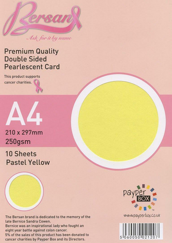 A4 Payperbox Pearlescent card 250 gsm : Pastel Yellow