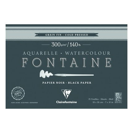 Fontaine 100 % Cotton : Clairefontaine Watercolour : Black Paper 300gsm  : Cold Press : 7 x 10 inches : 15 Sheets Black