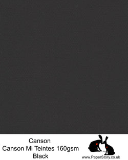 Canson Mi Teintes acid free, classic black, hammered texture honeycomb surface paper 160 gsm. This is a popular and classic paper for all artists especially well respected for Pastel  and Papercutting made famous by Paper Panda. This paper has a honeycombed finish one side and fine grain the other. An authentic art paper, acid free with a  very high 50% cotton content. Canson Mi-Teintes complies with the ISO 9706 standard on permanence, a guarantee of excellent conservation