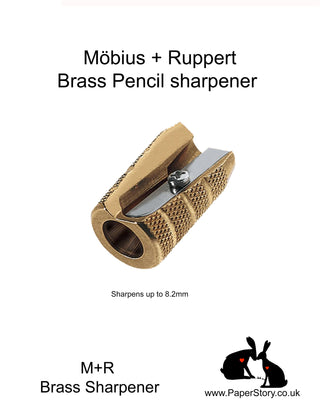 M+R Brass round pencil sharpener barrel GRANITE, Grenade style, Looks and feel of  quality. These heavy hand held quality sharpener made by Möbius + Ruppert in Germany These unbreakable sharpeners, are suited for pencils up to 8.2 mm  hardened M+R quality blades