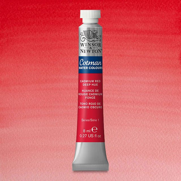 Winsor & Newton Watercolour Paint Cotman 8ml tube : Cadmium Red Deep Hue