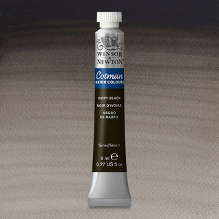 Winsor & Newton Watercolour Paint Cotman 8ml tube : Ivory Black