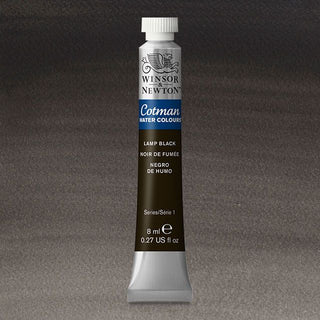 Winsor & Newton Watercolour Paint Cotman 8ml tube : Lamp Black