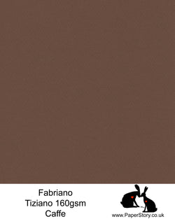 High quality paper from Italy, Caffe, deep chocolate brown Fabriano Tiziano is 160 gsm, Tiziano has a high cotton content, a textured naturally sized surface. This paper is acid free to guarantee long permanence in time, pH neutral. It has highly lightfast colours, an excellent surface making and sizing which make this paper particularly suitable for papercutting, pastels, pencil, graphite, charcoal, tempera, air brush and watercolour techniques. Tiziano can be used for all printing techniques.