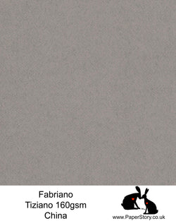 High quality paper from Italy, China mid tone felted grey Fabriano Tiziano is 160 gsm, Tiziano has a high cotton content, a textured naturally sized surface. This paper is acid free to guarantee long permanence in time, pH neutral. It has highly lightfast colours, an excellent surface making and sizing which make this paper particularly suitable for papercutting, pastels, pencil, graphite, charcoal, tempera, air brush and watercolour techniques. Tiziano can be used for all printing techniques.
