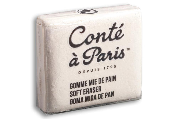This Conté à Paris putty eraser is soft and pliable. Use with subtractive drawing, charcoal and drawing.