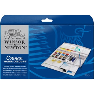 Newly designed Cotman watercolour paint gift set, with extra palette providing plenty of mixing space.  This is stylish and practical box contains 16 x Cotman Watercolour half pans, 3 x 8ml Cotman Watercolour tubes and 1 x Cotman Series 111 No.3 brush.