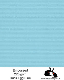 A4 card 225 gsm. A beautiful textured duck egg blue colour, texture embossed one side smooth the other. Perfect for card making, gift tags and crafting.