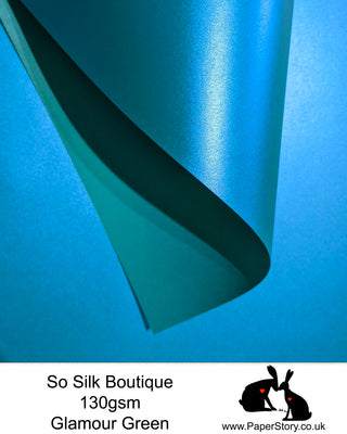 So Silk Boutique 130 gsm. Silky soft Papercutting and craft paper. With a Shimmering Pearlescent finish made with silk fibres, this is a perfect papercutting paper for beginners to experts. The paper has a one sided pearlescent coating, the other side is matte finish for printing templates. When printing with an inkjet printer on the matte side, it is advised to use a quick print or draft settings to avoid ripples, and allow to dry thoroughly. FSC approved, PH Neutral, 100% recyclable acid free.