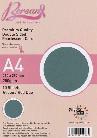 A4 Payperbox Pearlescent card 250 gsm : Green / Red duo
