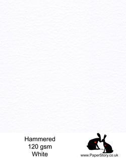 Hammered textured Paper 120 gsm Brilliant White colour, with a rippled hammered embossed effect. This traditional hammered textured paper, is both perfect for paper cutting and printing for card inserts. FSC Certified Acid Free paper.