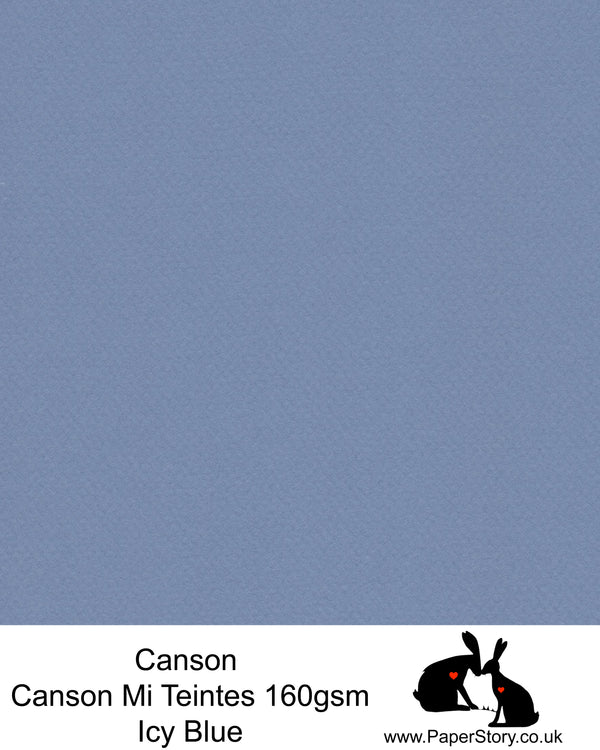 Canson Mi Teintes acid free, Icy Blue, hammered texture honeycomb surface paper 160 gsm. This is a popular and classic paper for all artists especially well respected for Pastel  and Papercutting made famous by Paper Panda. This paper has a honeycombed finish one side and fine grain the other. An authentic art paper, acid free with a  very high 50% cotton content. Canson Mi-Teintes complies with the ISO 9706 standard on permanence, a guarantee of excellent conservation