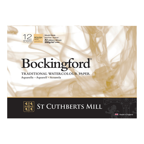 Bockingford : Watercolour Paper Glued Pad 300gsm  : Rough : A3 : 12 Sheets