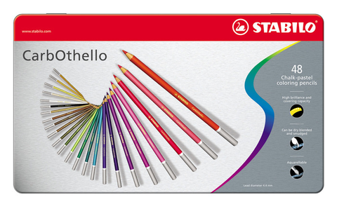 STABILO CarbOthello chalk-pastel coloured pencil metal box of 48 colours