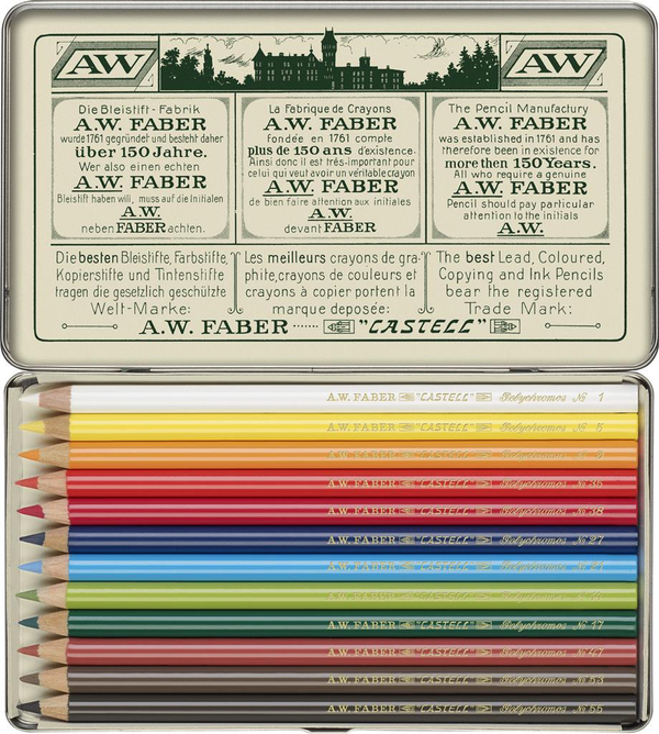 FABER CASTELL : Polychromos Pencil : Metal tin set 12 : Limited Edition 111th Anniversary set