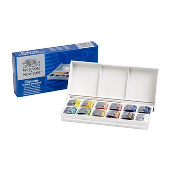 Winsor and Newton Watercolour Cotman Paint : Compact Set : 12 Half Pans