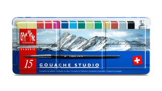 Caran d'Ache Gouache paint pans assortment of 15 colour tablets