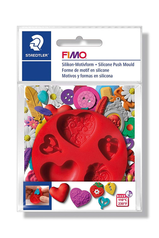 FIMO : Hearts silicone ( Free block of FIMO )