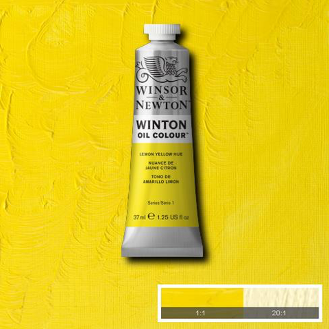 close WINTON OIL COLOUR LEMON YELLOW HUE Lemon Yellow Hue is a strong mid-range yellow colour closely resembling genuine Lemon Yellow made from arylamide pigment.