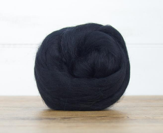 World of Wool : Merino Raven Black  : 100g  23mic Dyed Merino Top.